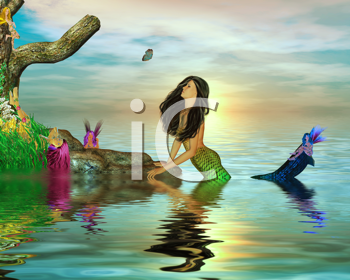 Royalty Free Clipart Image of a Mermaid and Fairies