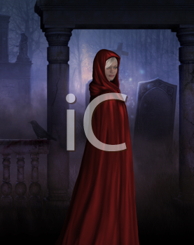 Royalty Free Clipart Image of a Gothic Girl in a Red Cape