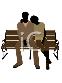 Royalty Free Clipart Image of a Couple on a Park Bench