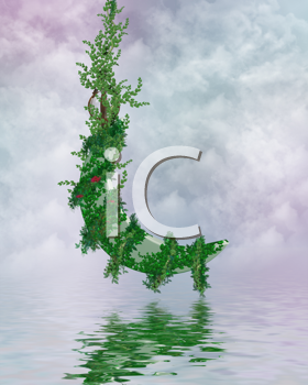 Royalty Free Clipart Image of a Vine Over Water