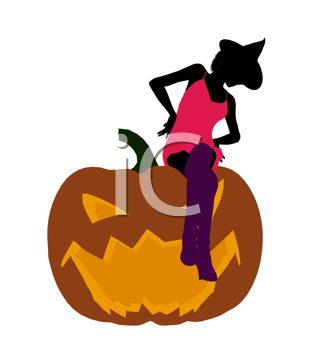 Royalty Free Clipart Image of a Woman in a Witch's Hat Sitting on a Pumpkin