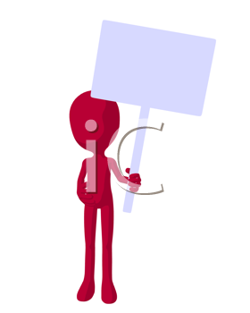 Royalty Free Clipart Image of a Red Character With a Sign