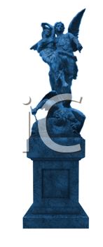 Royalty Free Clipart Image of a Blue Statue