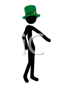Royalty Free Clipart Image of a St. Patrick's Day Stick Figure