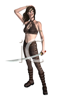 Royalty Free Clipart Image of a Woman With a Sword