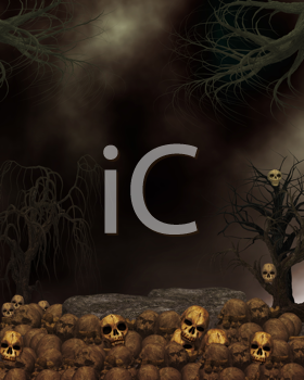 Royalty Free Clipart Image of a Spooky Background With Skulls