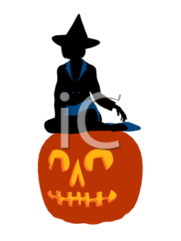 Royalty Free Clipart Image of a Witch on a Pumpkin