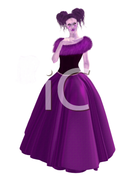 Royalty Free Clipart Image of a Woman in a Gownn