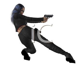 Royalty Free Clipart Image of a Woman With a Gun
