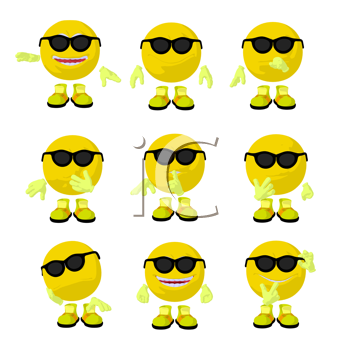 Royalty Free Clipart Image of a Smileys in Sunglasses