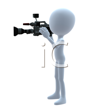 Royalty Free Clipart Image of a 3D Guy With a Camera