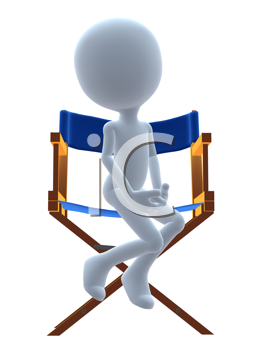 Royalty Free Clipart Image of a 3D Guy in a Director Chair