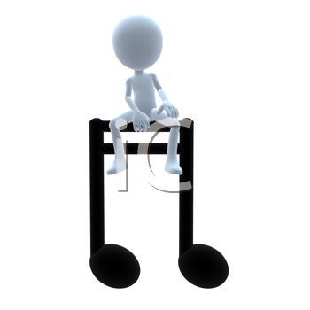 Royalty Free Clipart Image of a 3D Guy With a Music Note