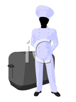 Royalty Free Clipart Image of a Chef Beside a Toaster