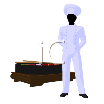 Royalty Free Clipart Image of a Sushi Chef