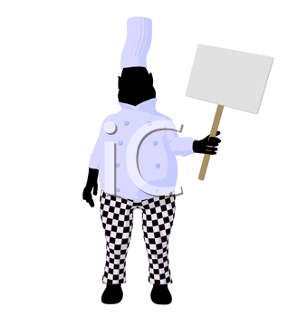 Royalty Free Clipart Image of a Chef With a Sign