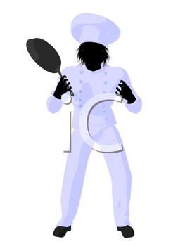 Royalty Free Clipart Image of a Chef With a Skillet