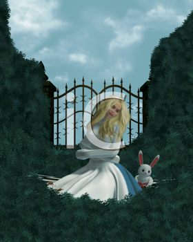 Alice in a straight jacket outside in the garden
