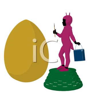 Royalty Free Clipart Image of a Child in a Bunny Costume Painting an Egg