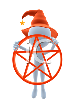 Royalty Free Clipart Image of a 3D Witch With a Pentagram