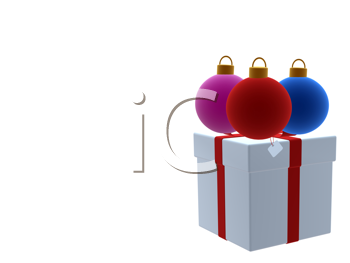 Royalty Free Clipart Image of Christmas Presents and Ornaments