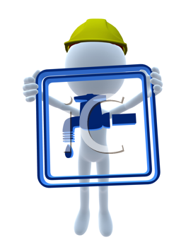 Royalty Free Clipart Image of a 3D Man in a Hardhat Holding a Sign With a Dripping Tap