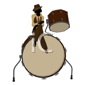 Royalty Free Clipart Image of a Woman With a Big Drum