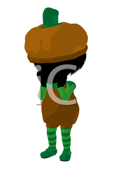 Royalty Free Clipart Image of a Girl in a Pumpkin Costume
