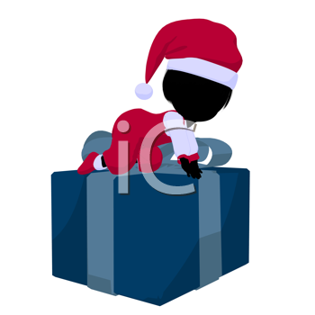 Royalty Free Clipart Image of a Little Girl in a Santa Costume With a Gift
