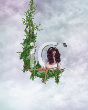 Royalty Free Clipart Image of a Fairy Sitting on a Vine