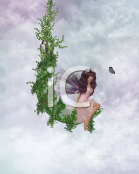 Royalty Free Clipart Image of a Fairy Sitting on a Vine Looking at a Butterfly