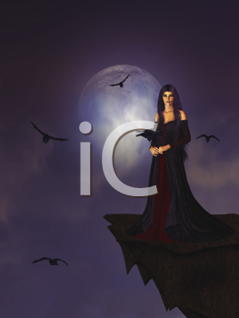 Royalty Free Clipart Image of a Woman on a Cliff