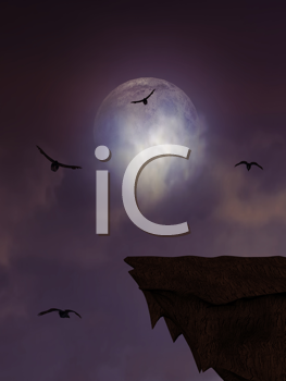 Royalty Free Clipart Image of a Cliff and Crows Flying in Front of a Full Moon