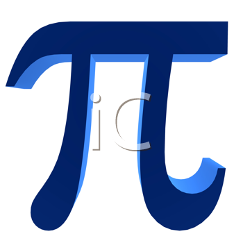 3D blue pi symbol on a white background