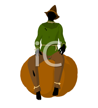 Royalty Free Clipart Image of a Scarecrow on a Pumpkin