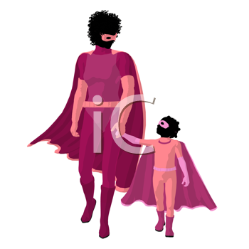 Royalty Free Clipart Image of Mother and Child Superheroes