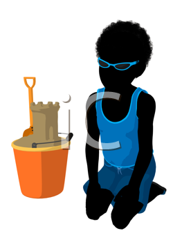 Royalty Free Clipart Image of a Boy With Sand Toys