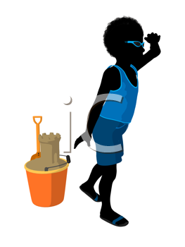 African american beach boy with sand castle illustration silhouette on a white background