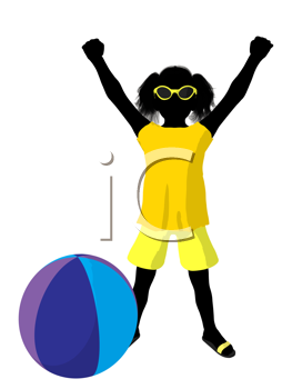Royalty Free Clipart Image of a Girl With a Beach Ball