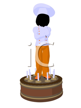 Royalty Free Clipart Image of a Girl Chef on a Cake