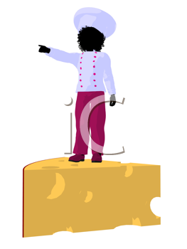 Royalty Free Clipart Image of a Girl Chef on a Piece of Cheese