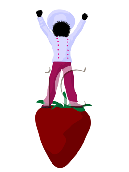 Royalty Free Clipart Image of a Chef Girl on a Strawberry