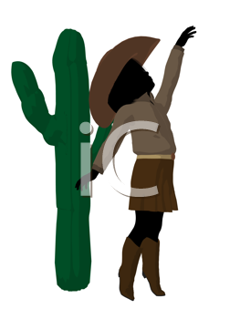 Royalty Free Clipart Image of a Cowgirl Beside a Cactus