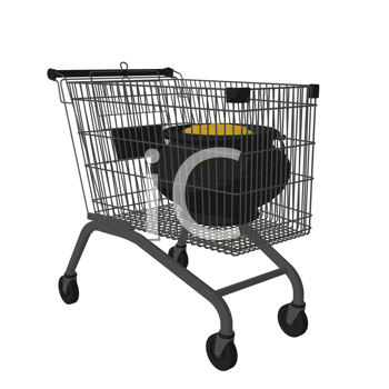 Royalty Free Clipart Image of a Pot of Gold in a Shopping Cart