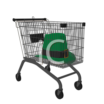 Royalty Free Clipart Image of a Leprechaun Hat in a Shopping Cart