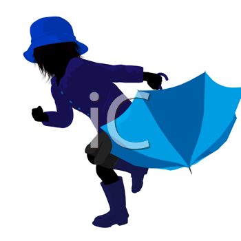 Royalty Free Clipart Image of a Child With an Umbrella