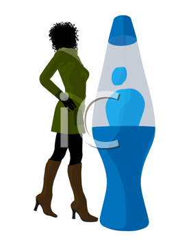 Royalty Free Clipart Image of a Woman With a Lava Lamp