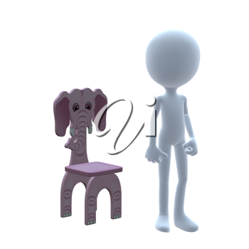 Royalty Free Clipart Image of a 3D Boy With an Elephant Chair