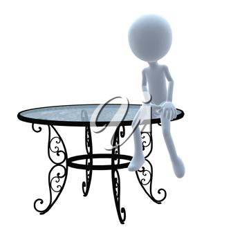 Royalty Free Clipart Image of a 3D Guy With a Patio Table