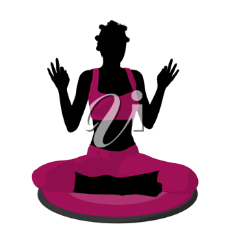 Royalty Free Clipart Image of a Woman Doing Yoga